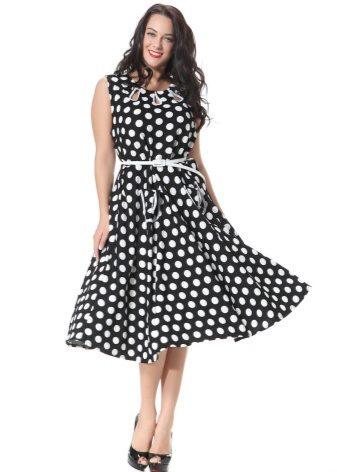 8c82b91cd36 Классическое сочетание – черное платье в белый горошек. Такая расцветка  эффектно выглядит и визуально стройнит. Сочным акцентом к образу может  стать красный ...