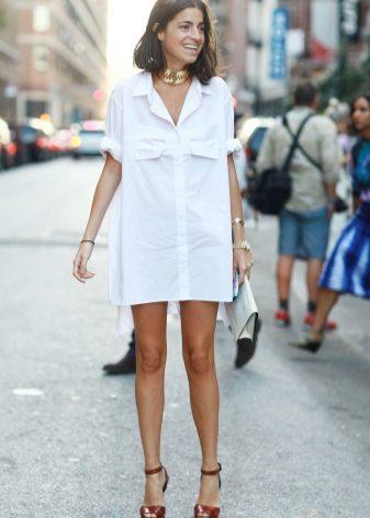 Платье рубаха белое