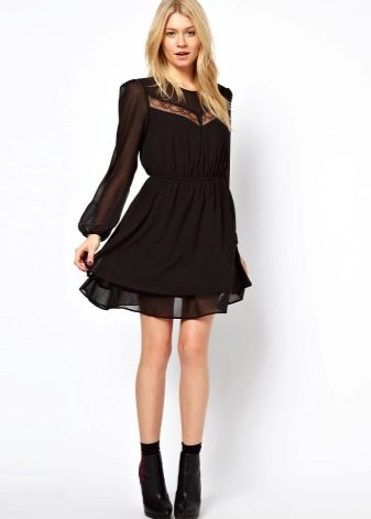 Платье черное шифон фото