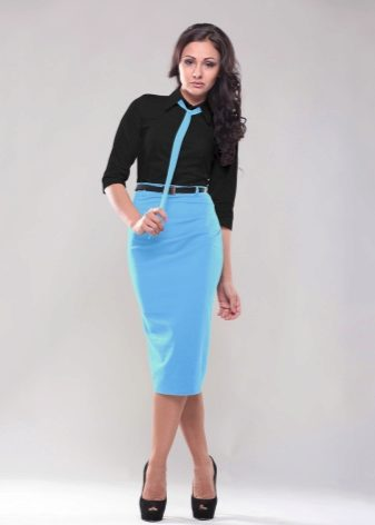 Черное платье с голубым низом