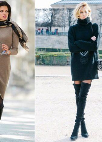 b339f7ba6563 ... en sweater kjole med et voluminøst mønster med leggings eller  strømpebukser og høje suede støvler. Og stilfuld og komfortabel og varm -  tre i en.