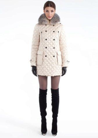 Женское пальто на синтепоне (75 фото): из плащевки, утепленное, болоневое, длинное, финские