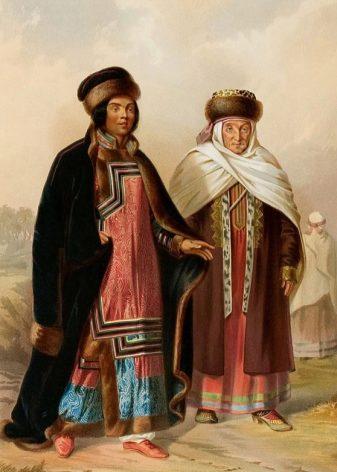 8540b7fc5e7c У некоторых видов татар имелся воротник-стойка. Мужская модель была очень  широкой и едва достигала колен, а женская почти касалась щиколоток.
