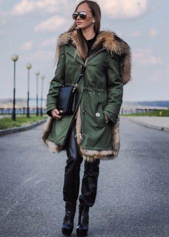 парка женская фото зимняя с натуральным мехом