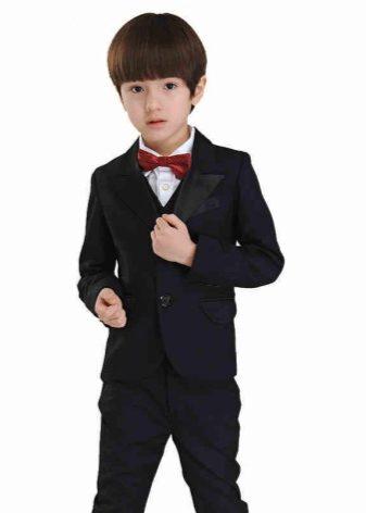 Школьный костюм для мальчика 7-14 лет: пиджак, жилет, рубашка, брюки 260