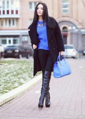 Зимние женские ботфорты из натуральной кожи: кожаные сапоги еврозима и меху, на каблуке и с подошвой полиуретан