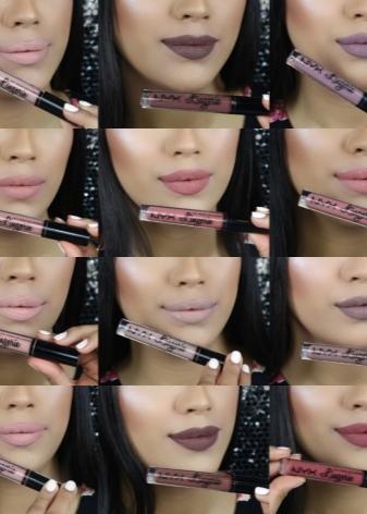 Жидкая матовая помада NYX: серия Lip Lingerie, палитра нюдовых цветов и оттенков, отзывы