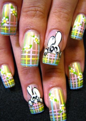 Маникюр с зайчиком (21 фото): идеи дизайна; зайка с хвостиком, декор; плейбой; на одном пальце