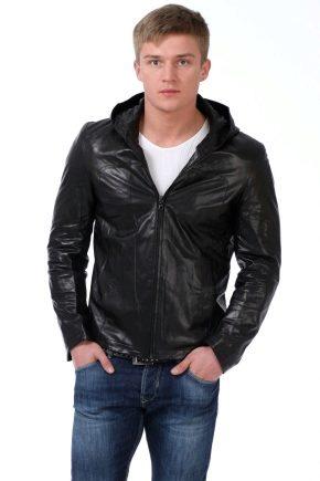 Кожаные мужские куртки с капюшоном