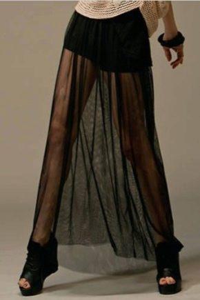 Черная юбка с прозрачной полосой