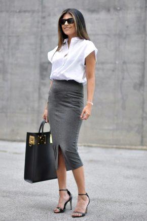 С чем носить серую юбку-карандаш?