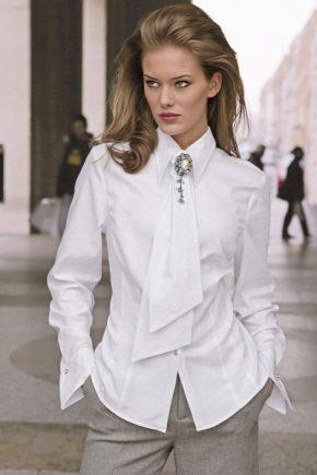 22e4f3dfd40 Белая рубашка женская (137 фото) 2019 года  с длинным рукавом ...
