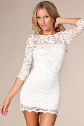 105acb8c01bb15c Белое кружевное платье 2019 (91 фото): летнее, короткое, с чем ...