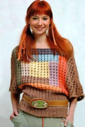 Кофты-пуловеры из разноцветных ниток, мохера, трикотажа