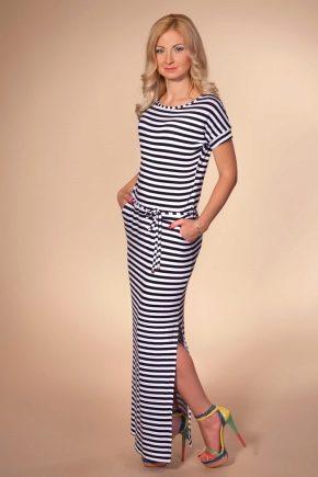 Длинное платье в цветную полоску