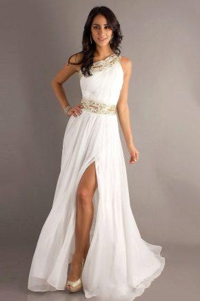 С чем носить белое длинное платье?