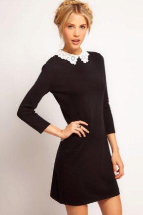 Черное платье с белым воротником – олицетворение скромности и стиля