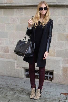 Стильное комбинированное пальто
