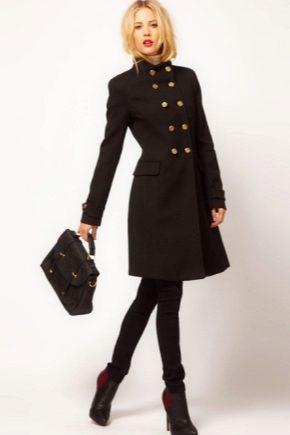 Женское классическое черное пальто