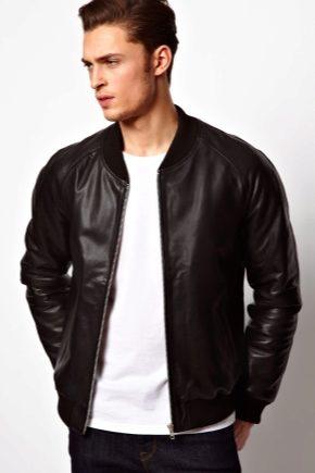 Кожаная мужская куртка-бомбер