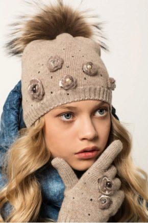 зимние шапки для девочек 71 фото детские вязаные шапки с помпоном