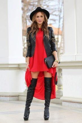 Как носить платье с ботфортами?