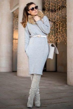 Серые ботфорты – стильные образы