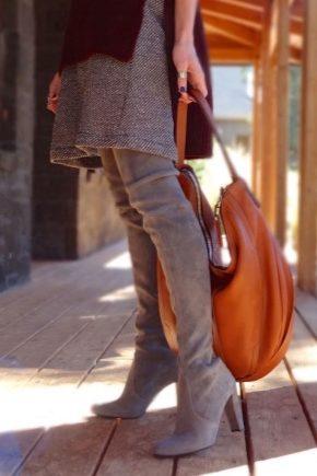 79eb16408528 Серые замшевые сапоги (40 фото)  с чем носить, женские высокие ...