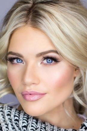 Макияж для голубых глаз и светлых волос