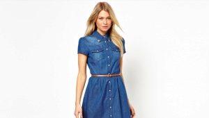 С чем носить джинсовое платье-рубашку?