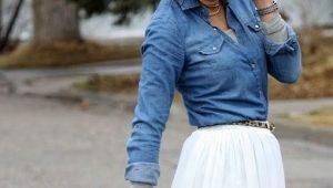 Модные образы с джинсовой рубашкой и юбкой