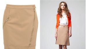 С чем носить бежевую юбку-карандаш?