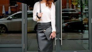 С чем носить кожаную юбку-карандаш?