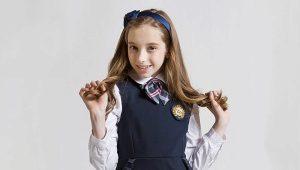 Школьные синие сарафаны для девочек