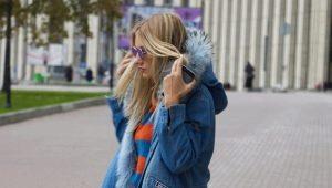 Женская джинсовая парка с мехом