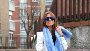 С чем носить голубой шарф?