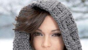 Вязаный шарф на голову