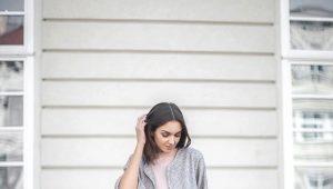 Серые замшевые ботфорты