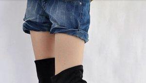 Замшевые ботфорты без каблука