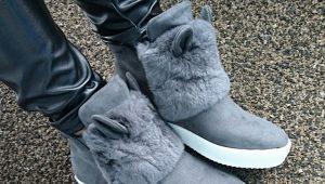 Ботинки с ушками и мехом