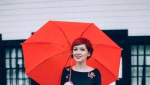 Красный зонт для романтиков