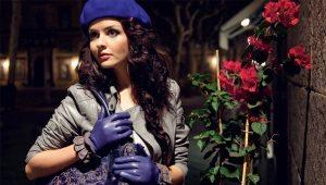 Женские зимние кожаные перчатки