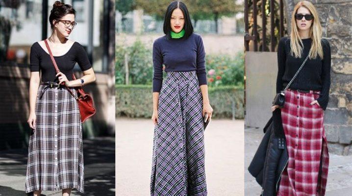С чем носить длинную юбку в клетку?