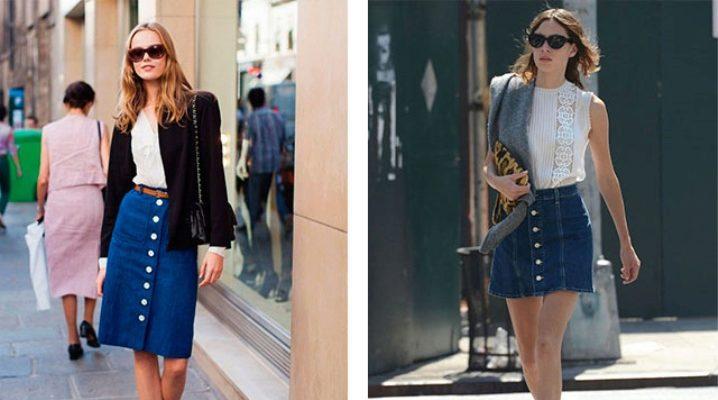 С чем носить джинсовую юбку с пуговицами спереди?