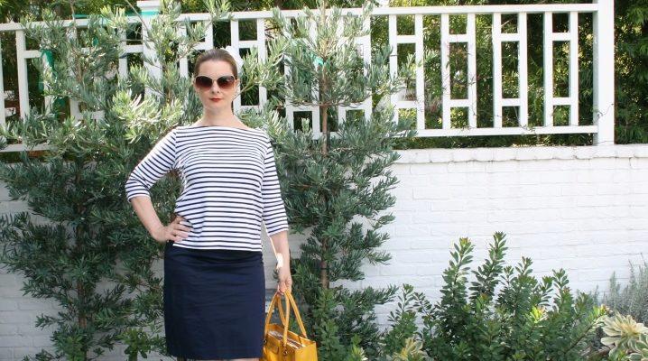 С чем носить синюю юбку-карандаш?