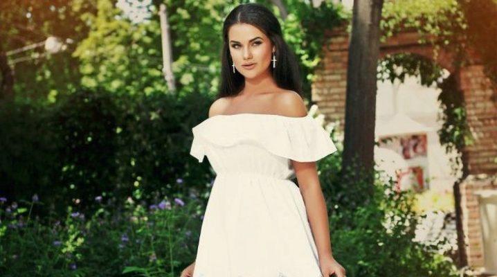 131d1196640 Платье с открытыми плечами (98 фото)  с воланами