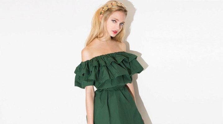 Платье с воланом на плечах