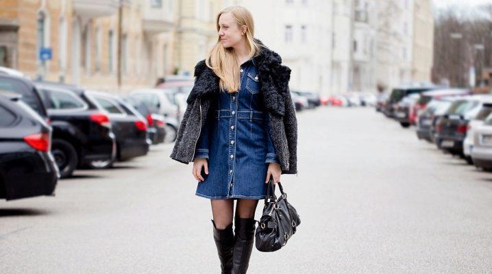 С чем носить джинсовое платье?