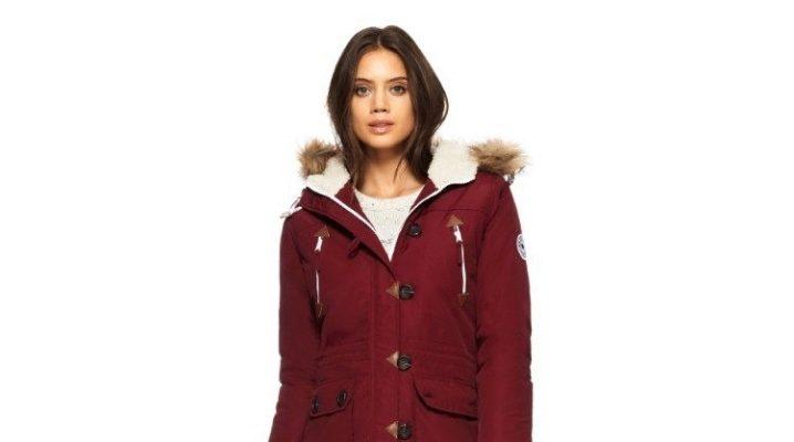 Куртки-парки бордового цвета