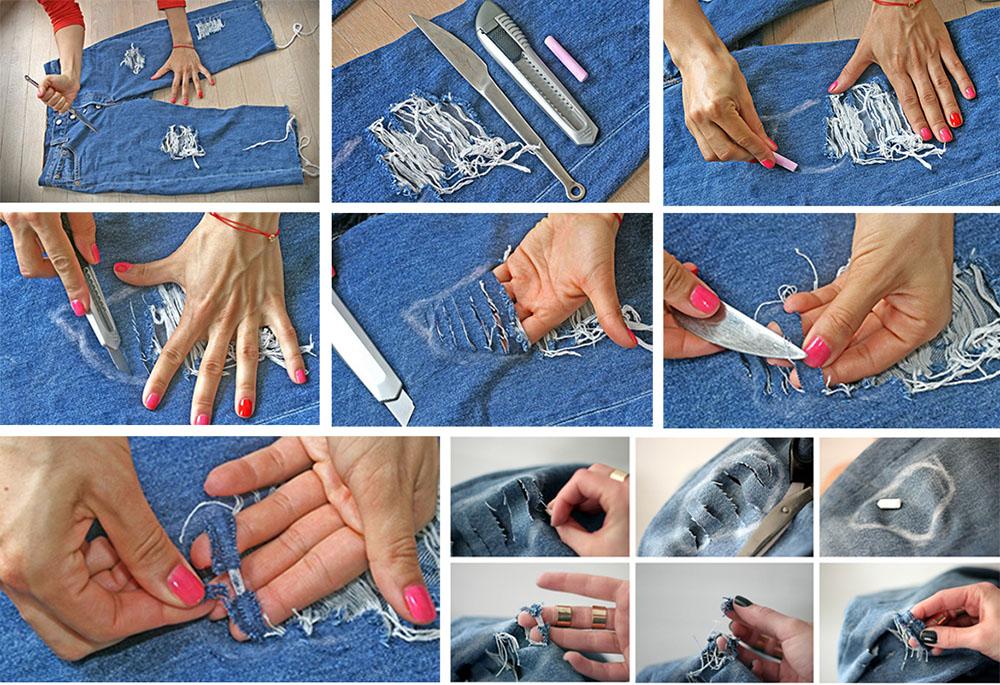 Как сделать дырки на джинсовых